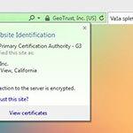 Prikaz Positive SSL v brskalniku explorer