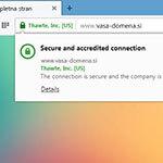 Prikaz Positive SSL v brskalniku opera