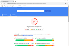Renini-Shop.com - PageSpeed Insights pred prenosom