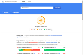 Znam.si - PageSpeed Insights po prenosu